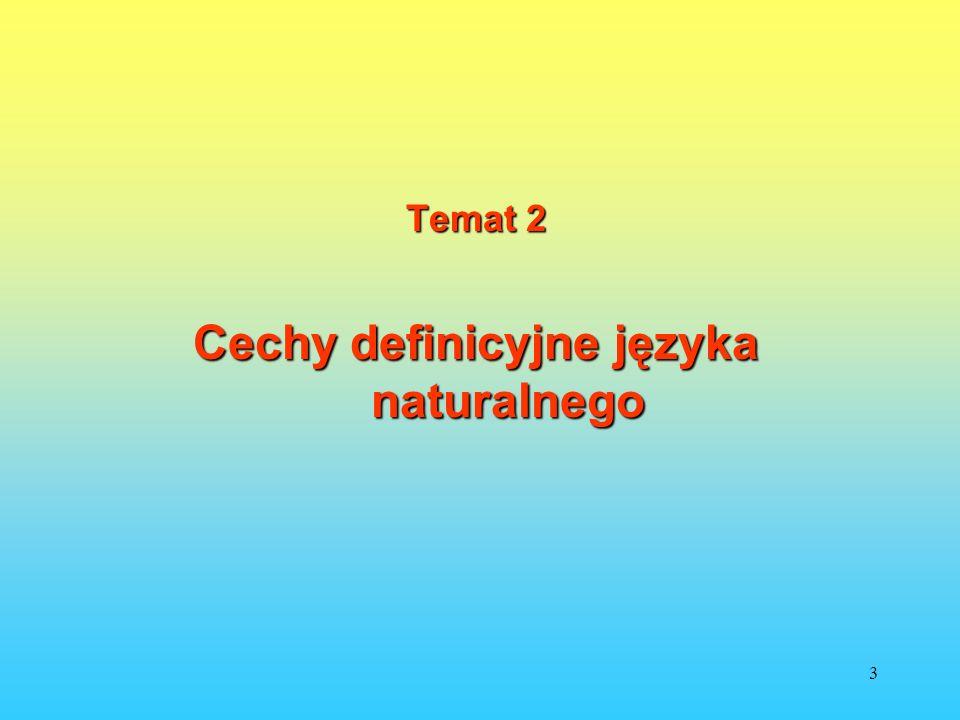 3 Temat 2 Cechy definicyjne języka naturalnego