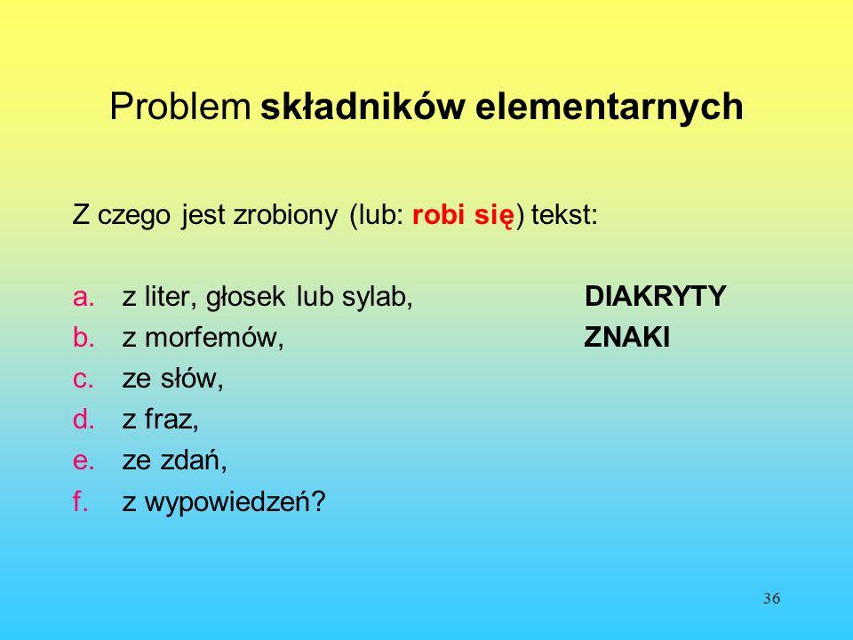36 Problem składników elementarnych Z czego jest zrobiony (lub: robi się) tekst: a.z liter, głosek lub sylab,DIAKRYTY b.z morfemów,ZNAKI c.ze słów, d.