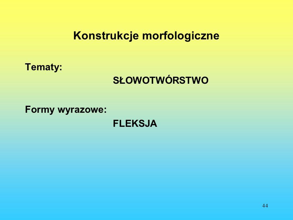 44 Konstrukcje morfologiczne Tematy: SŁOWOTWÓRSTWO Formy wyrazowe: FLEKSJA