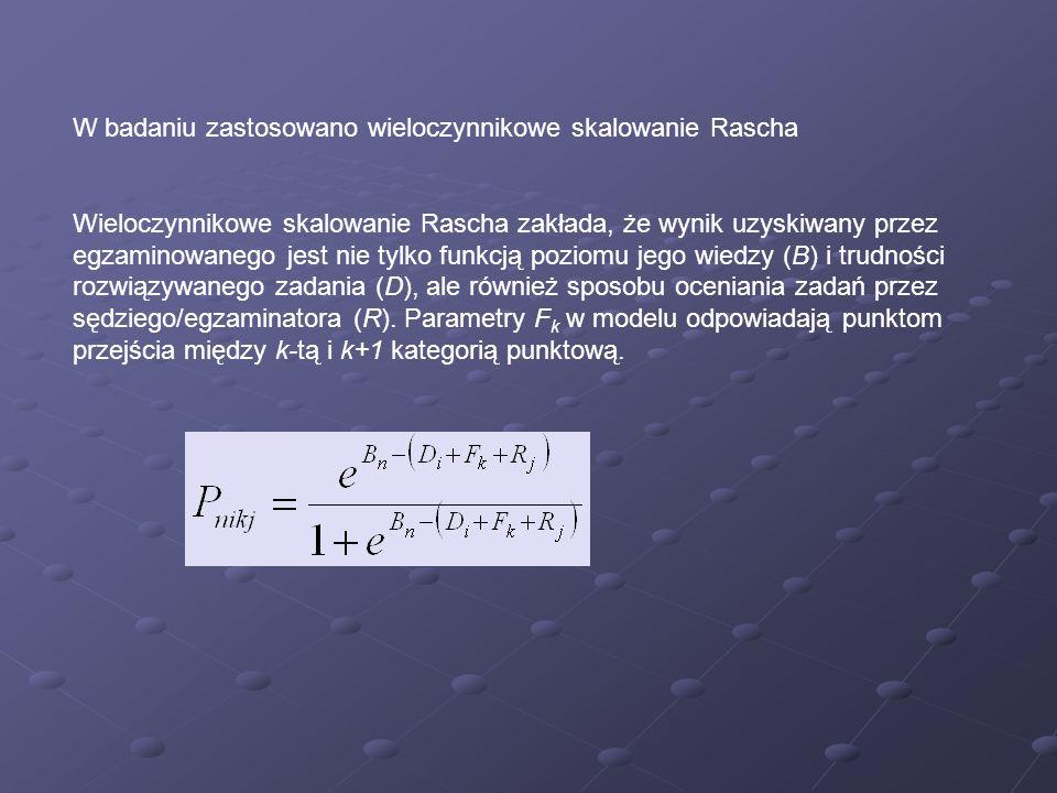 W badaniu zastosowano wieloczynnikowe skalowanie Rascha Wieloczynnikowe skalowanie Rascha zakłada, że wynik uzyskiwany przez egzaminowanego jest nie t