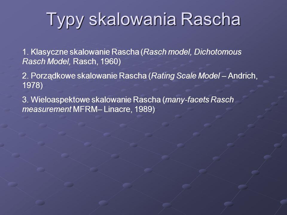 Typy skalowania Rascha 1. Klasyczne skalowanie Rascha (Rasch model, Dichotomous Rasch Model, Rasch, 1960) 2. Porządkowe skalowanie Rascha (Rating Scal