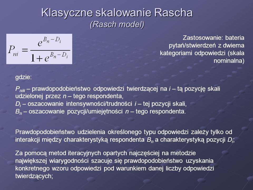 Zastosowanie: bateria pytań/stwierdzeń z dwiema kategoriami odpowiedzi (skala nominalna) Klasyczne skalowanie Rascha (Rasch model) Za pomocą metod ite