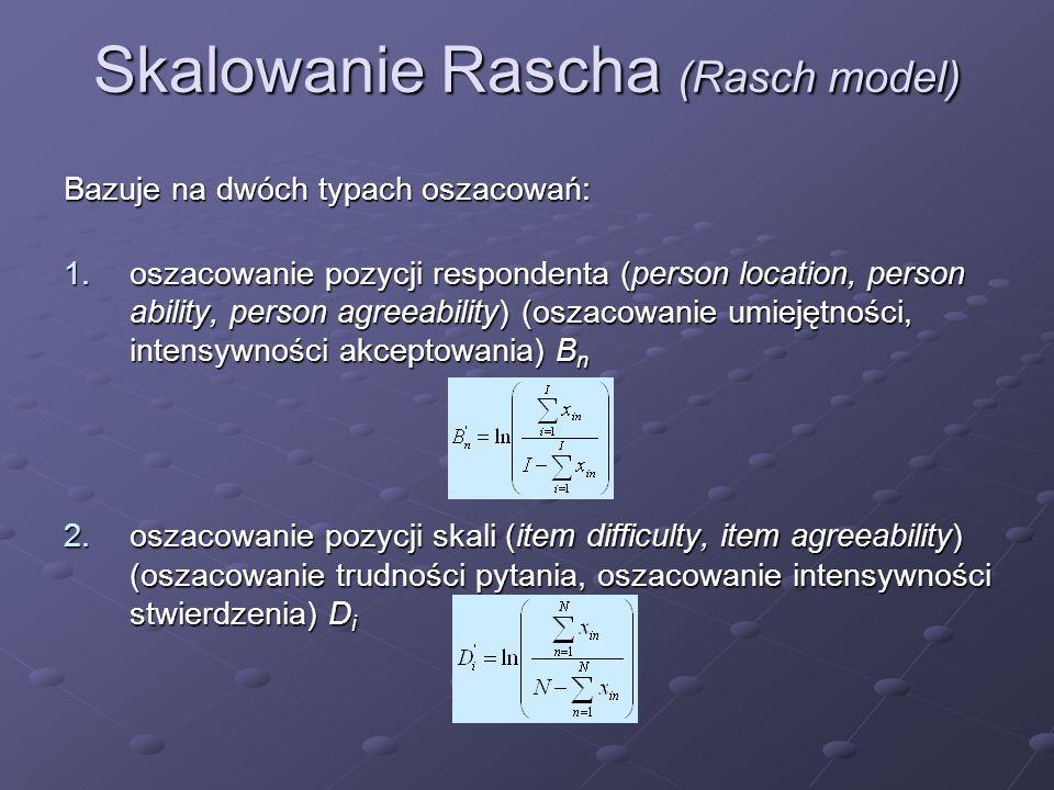 Skalowanie Rascha (Rasch model) Bazuje na dwóch typach oszacowań: 1.oszacowanie pozycji respondenta (person location, person ability, person agreeabil
