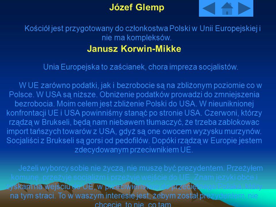 Józef Glemp Kościół jest przygotowany do członkostwa Polski w Unii Europejskiej i nie ma kompleksów. Janusz Korwin-Mikke Unia Europejska to zaścianek,