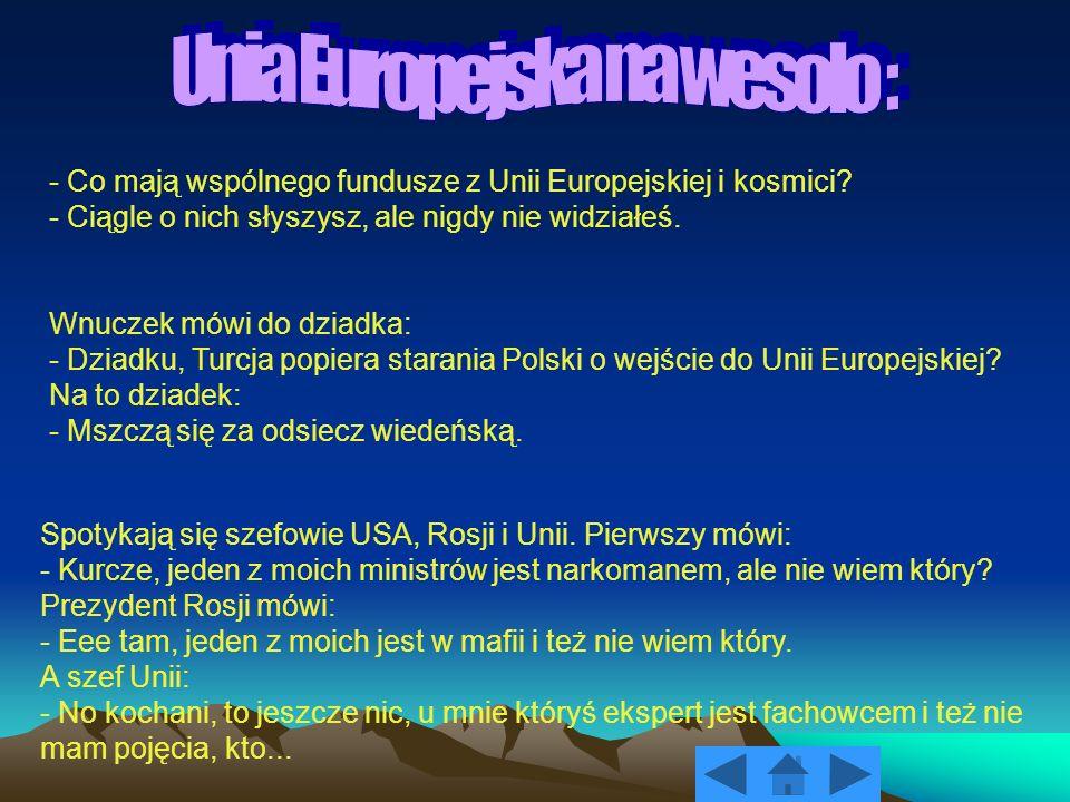 - Co mają wspólnego fundusze z Unii Europejskiej i kosmici? - Ciągle o nich słyszysz, ale nigdy nie widziałeś. Wnuczek mówi do dziadka: - Dziadku, Tur
