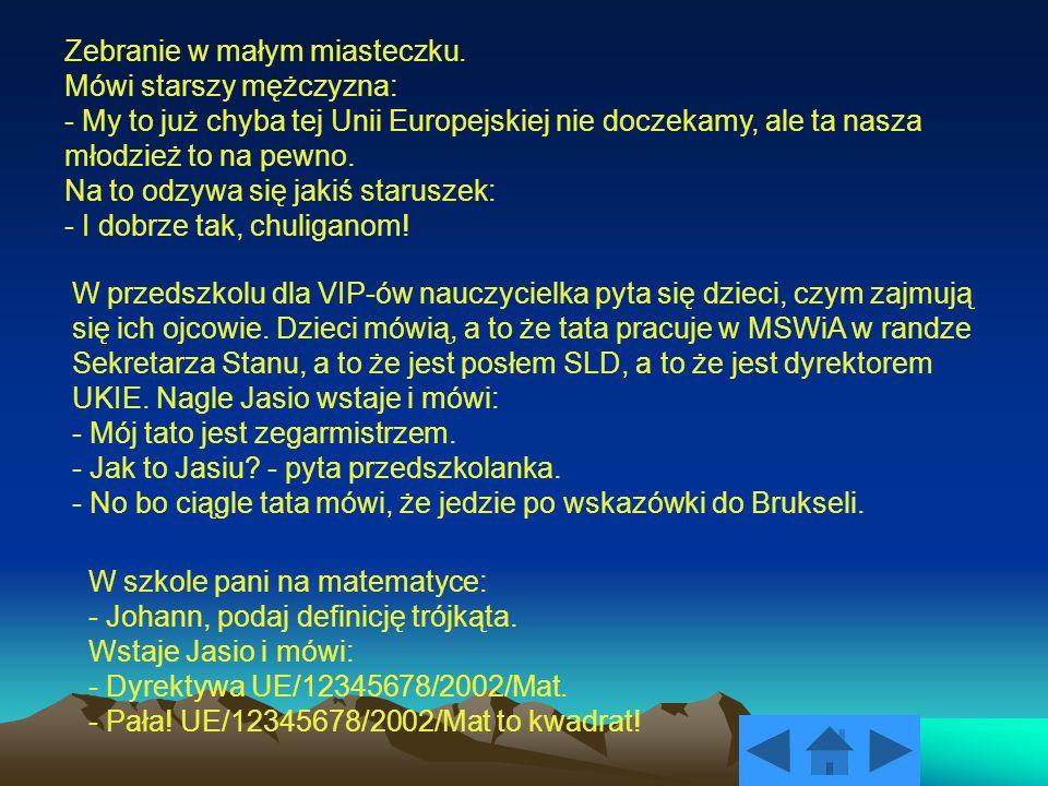 Zebranie w małym miasteczku. Mówi starszy mężczyzna: - My to już chyba tej Unii Europejskiej nie doczekamy, ale ta nasza młodzież to na pewno. Na to o