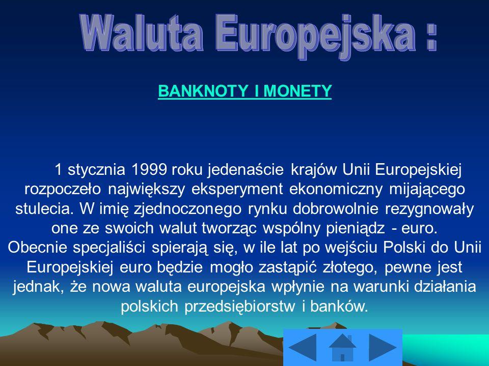 BANKNOTY I MONETY 1 stycznia 1999 roku jedenaście krajów Unii Europejskiej rozpoczeło największy eksperyment ekonomiczny mijającego stulecia. W imię z