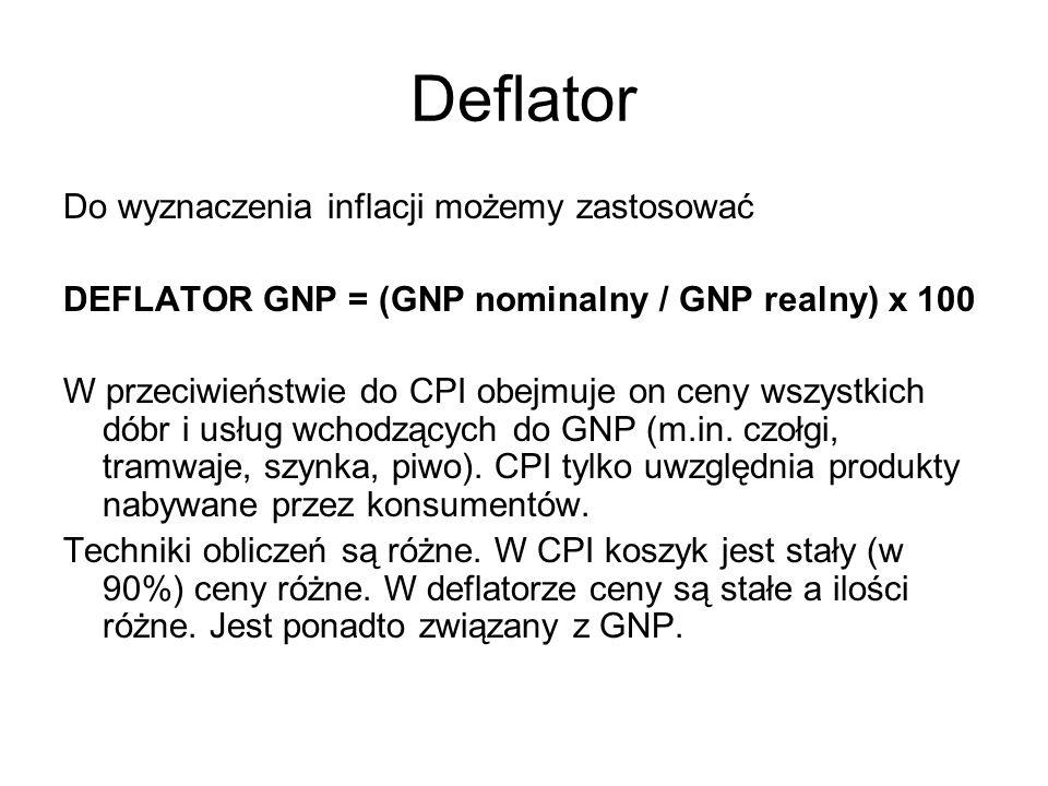 Deflator Do wyznaczenia inflacji możemy zastosować DEFLATOR GNP = (GNP nominalny / GNP realny) x 100 W przeciwieństwie do CPI obejmuje on ceny wszystk