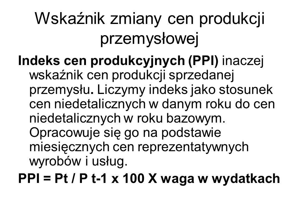 Wskaźnik zmiany cen produkcji przemysłowej Indeks cen produkcyjnych (PPI) inaczej wskaźnik cen produkcji sprzedanej przemysłu. Liczymy indeks jako sto