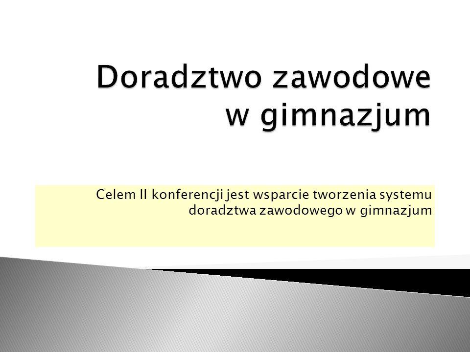 Celem II konferencji jest wsparcie tworzenia systemu doradztwa zawodowego w gimnazjum