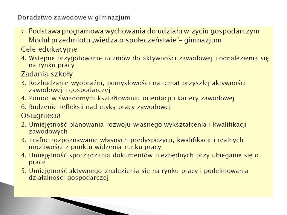 Podstawa programowa wychowania do udziału w życiu gospodarczym Moduł przedmiotu wiedza o społeczeństwie- gimnazjum Cele edukacyjne 4.