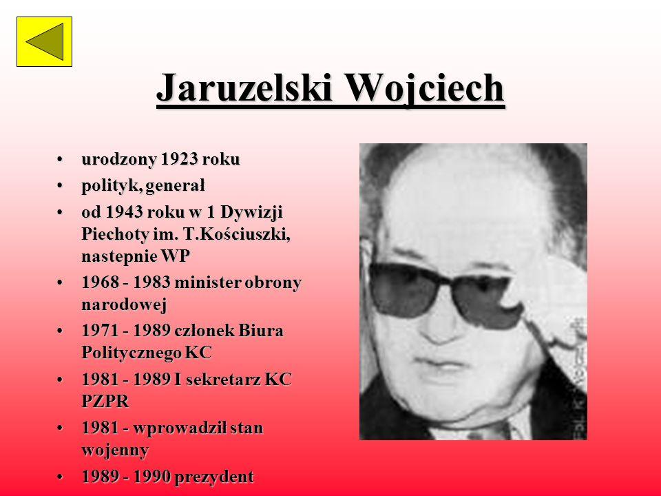 Bierut Bolesław żyłżył w latach 1892 - 1956 działaczdziałacz komunistyczny, członek KPP 19441944 - 1956 członek Biura Politycznego 19541954 - 1956 I sekretarz KC PZPR 19441944 - 1947 prezydent KRN 19471947 - 1954 prezydent RP 19521952 - 1954 premier współodpowiedzialnywspółodpowiedzialny za terror wobec opozycji niepodległościowej
