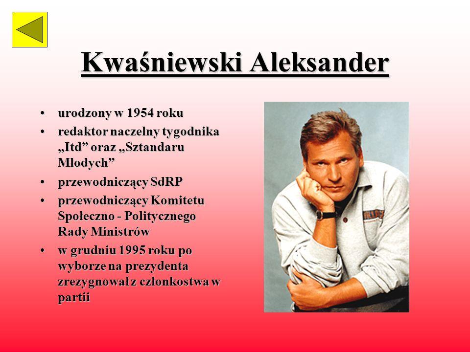 Wałęsa Lech urodzonyurodzony 1943 roku polityk,polityk, działacz związkowy 19701970 - członek komitetu strajkowego 19801980 organizator strajku współzałożycielwspółzałożyciel i 1980 - 1990 przedodniczący NSZZ Solidarność 19811981 - 1982 internowany 19901990 - 1995 prezydent RP oraz zwierzchnik sił zbrojnych w1983 otrzymał pokojową Nagrode Nobla przysięga prezydencka