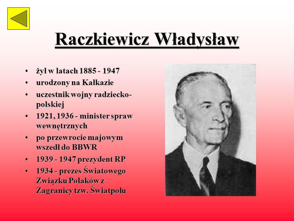 Mościcki Ignacy żyłżył w latach 1867 - 1946 polityk,polityk, chemik, prof. Politechniki Lwowskiej członekczłonek Polskiej Akademii Umiejętności współt