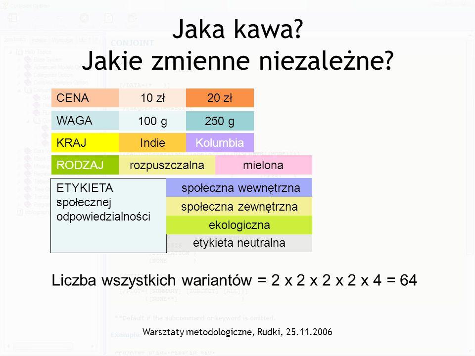 Warsztaty metodologiczne, Rudki, 25.11.2006 Jaka kawa? Jakie zmienne niezależne? CENA10 zł20 zł WAGA 100 g250 g RODZAJrozpuszczalnamielona KRAJIndieKo