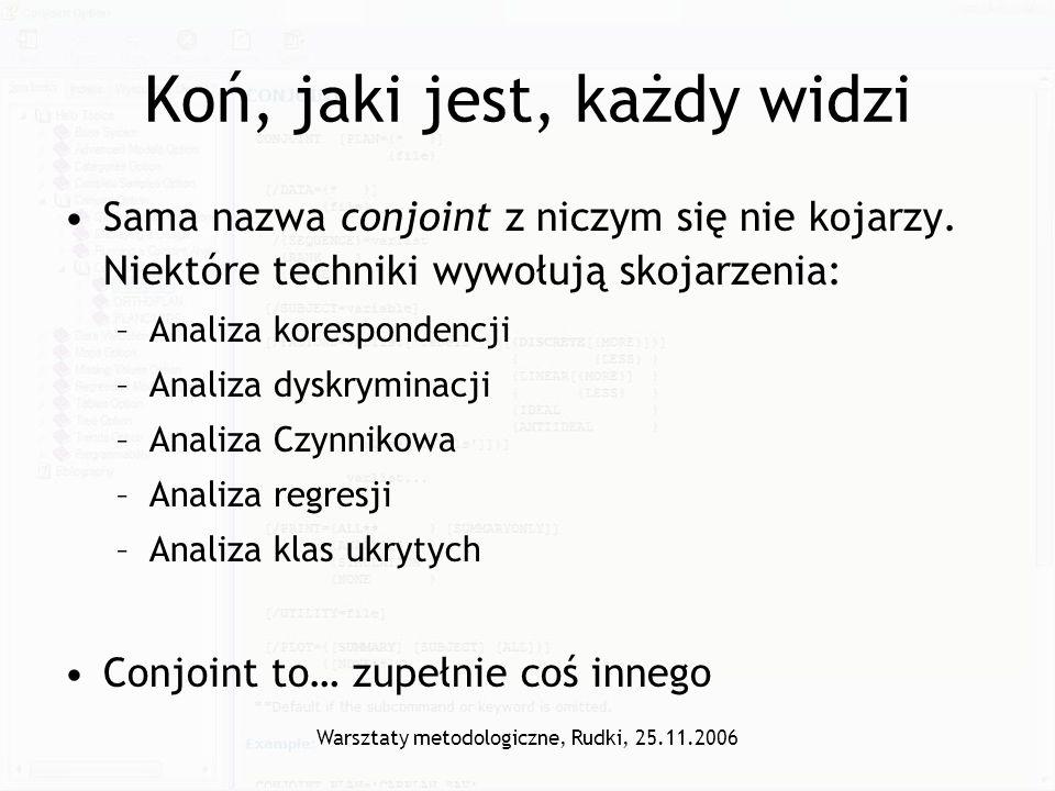 Warsztaty metodologiczne, Rudki, 25.11.2006 Jaka kawa.