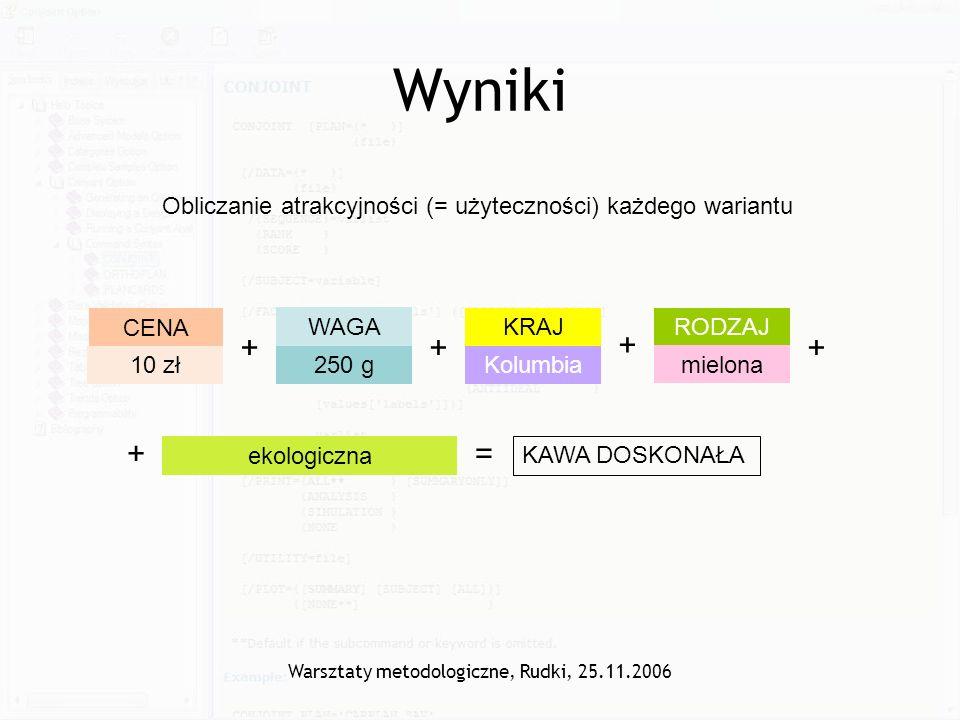 Warsztaty metodologiczne, Rudki, 25.11.2006 Wyniki Obliczanie atrakcyjności (= użyteczności) każdego wariantu CENA 10 zł WAGA 250 g RODZAJ mielona KRA