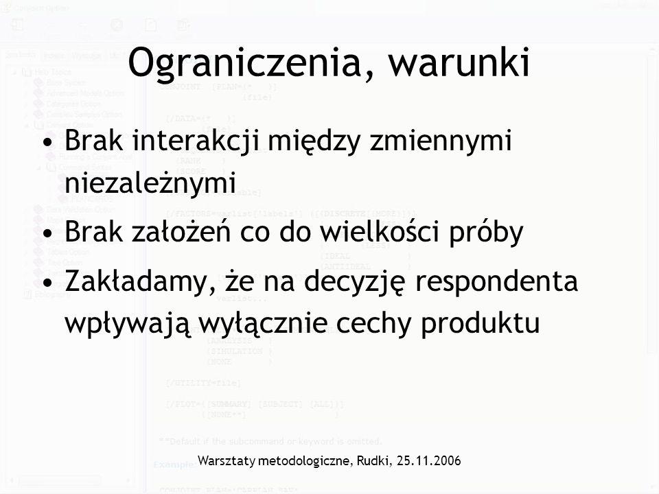 Warsztaty metodologiczne, Rudki, 25.11.2006 Ograniczenia, warunki Brak interakcji między zmiennymi niezależnymi Brak założeń co do wielkości próby Zak
