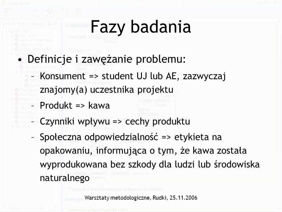 Warsztaty metodologiczne, Rudki, 25.11.2006 Fazy badania Definicje i zawężanie problemu: –Konsument => student UJ lub AE, zazwyczaj znajomy(a) uczestn