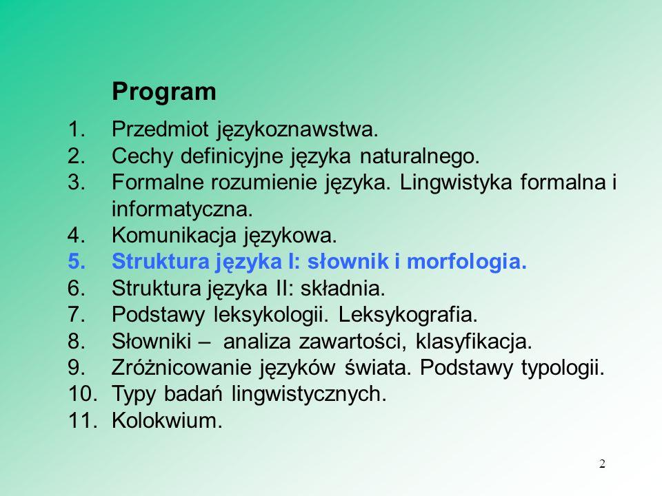 Temat 5 Struktura języka I: słownik morfologia. 3