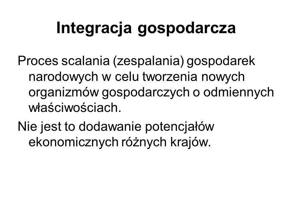 Integracja gospodarcza Proces scalania (zespalania) gospodarek narodowych w celu tworzenia nowych organizmów gospodarczych o odmiennych właściwościach