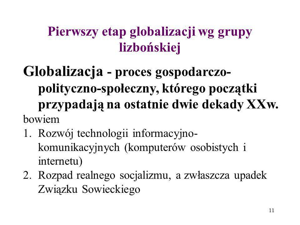 11 Pierwszy etap globalizacji wg grupy lizbońskiej Globalizacja - proces gospodarczo- polityczno-społeczny, którego początki przypadają na ostatnie dw