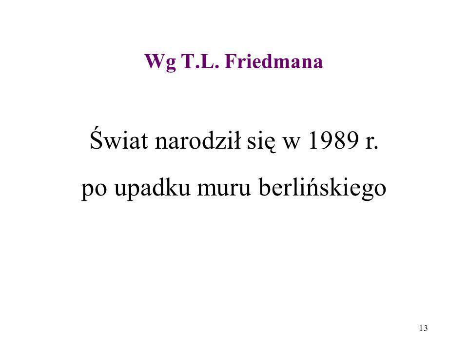 13 Wg T.L. Friedmana Świat narodził się w 1989 r. po upadku muru berlińskiego