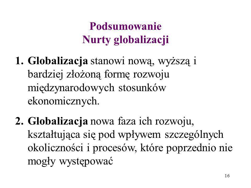 16 Podsumowanie Nurty globalizacji 1.Globalizacja stanowi nową, wyższą i bardziej złożoną formę rozwoju międzynarodowych stosunków ekonomicznych. 2.Gl