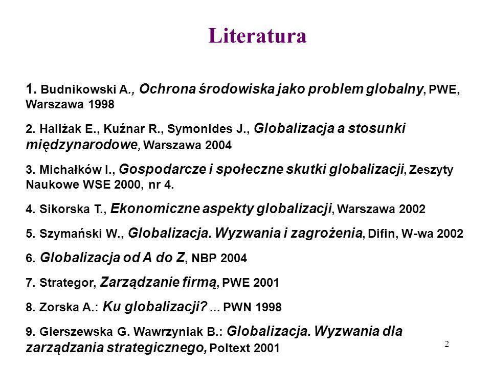 2 Literatura 1. Budnikowski A., Ochrona środowiska jako problem globalny, PWE, Warszawa 1998 2. Haliżak E., Kuźnar R., Symonides J., Globalizacja a st