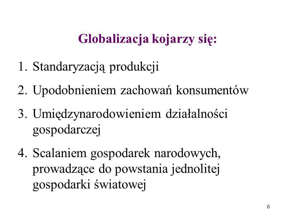 6 Globalizacja kojarzy się: 1.Standaryzacją produkcji 2.Upodobnieniem zachowań konsumentów 3.Umiędzynarodowieniem działalności gospodarczej 4.Scalanie