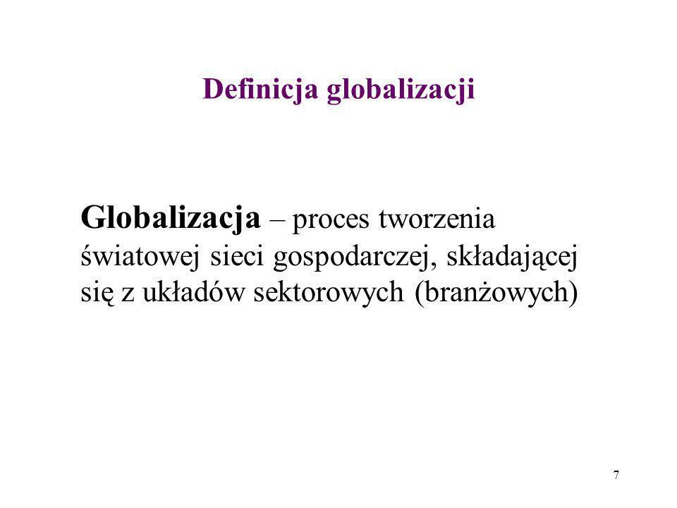 8 Definicja globalizacji Globalizacja jest funkcją postępu technicznego