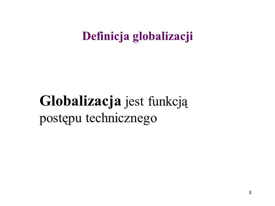 39 Proces selektywny Globalizacja jest ciągle procesem selektywnym bowiem korzystają z niej kraje bogate i średnio zamożne, zaś kraje ubogie nie są w obszarze zainteresowania zagranicznych inwestorów