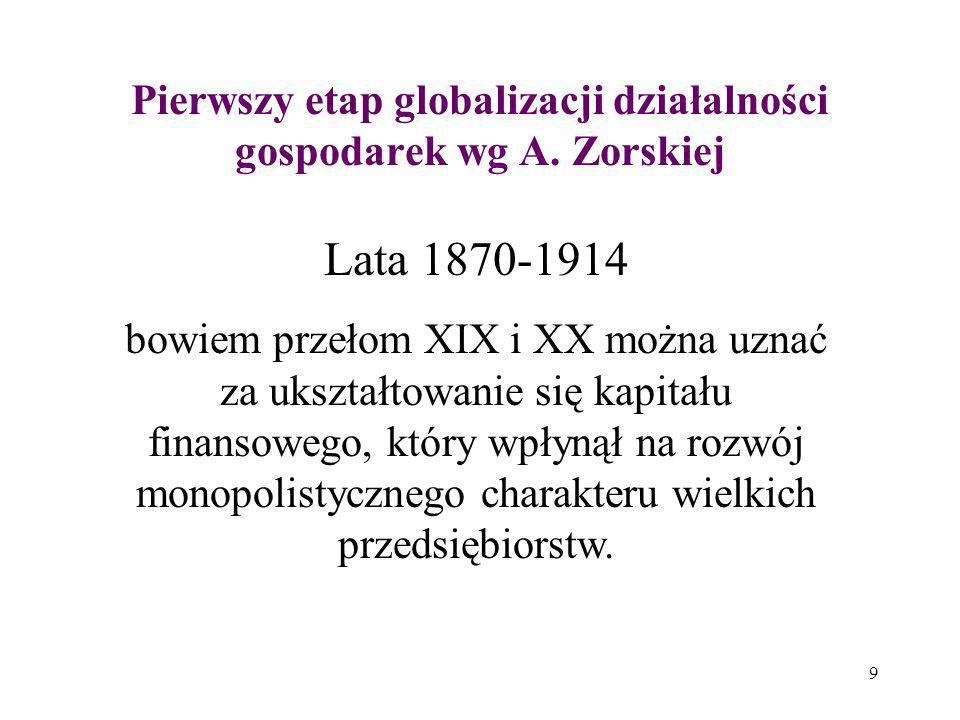 9 Pierwszy etap globalizacji działalności gospodarek wg A. Zorskiej Lata 1870-1914 bowiem przełom XIX i XX można uznać za ukształtowanie się kapitału