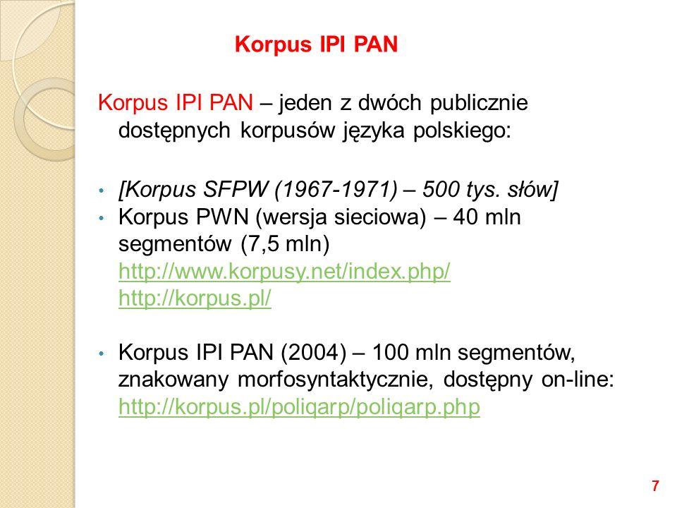 Podstawa: Marcin Woliński, Morfeusz SIAT (Software Interface Analysis Tool) Dane programu: Jan Tokarski, Schematyczny indeks a tergo polskich form wyrazowych (red.