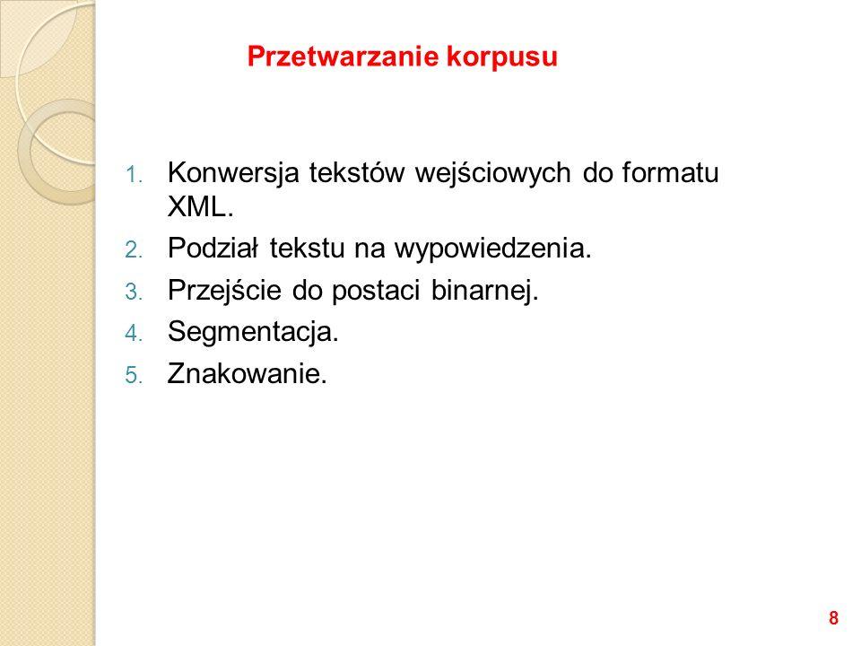 Zbiór znaczników: Marcin Woliński, Zygmunt Saloni, Adam Przepiórkowski http://nlp.ipipan.waw.pl/~wolinski/morfeusz/znakowanie.pdf Marcin Woliński: System znaczników morfosyntaktycznych w korpusie IPI PAN, Polonica XII (2004), 39-54.