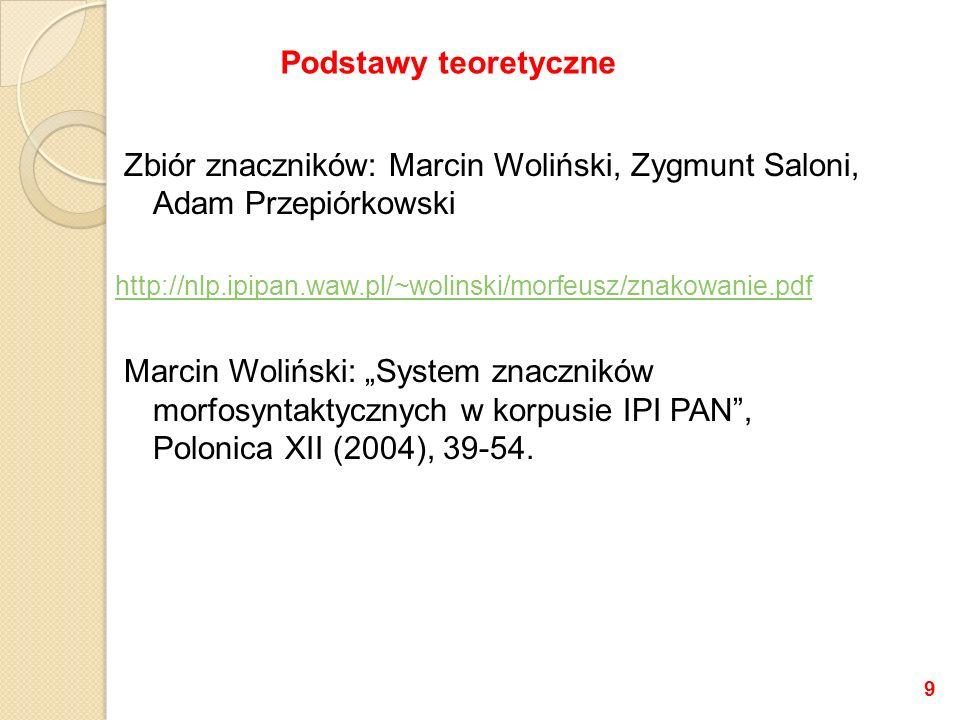 Zbiór znaczników: Marcin Woliński, Zygmunt Saloni, Adam Przepiórkowski http://nlp.ipipan.waw.pl/~wolinski/morfeusz/znakowanie.pdf Marcin Woliński: Sys