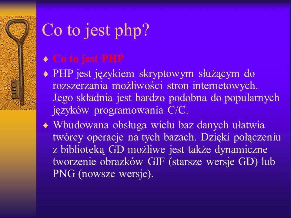 Osadzanie skryptów Aby plik był rozpoznany przez serwer WWW jako skrypt PHP musi on mieć odpowiednie rozszerzenie.