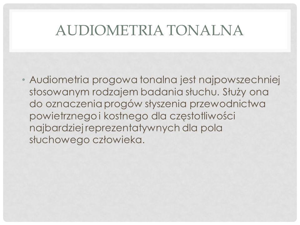 Audiometria progowa tonalna jest najpowszechniej stosowanym rodzajem badania słuchu. Służy ona do oznaczenia progów słyszenia przewodnictwa powietrzne