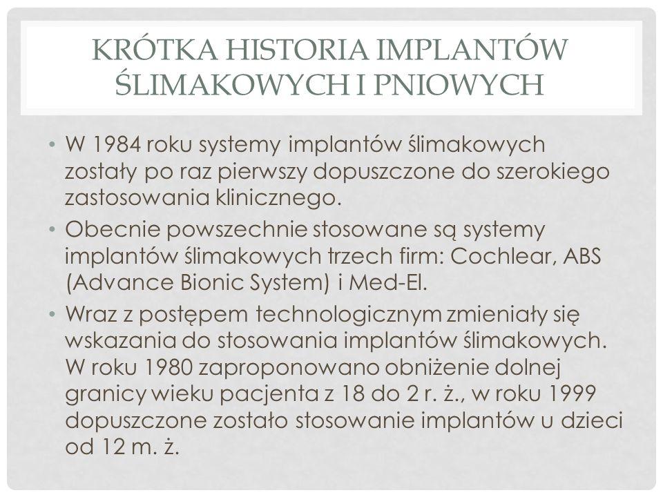 KRÓTKA HISTORIA IMPLANTÓW ŚLIMAKOWYCH I PNIOWYCH W 1984 roku systemy implantów ślimakowych zostały po raz pierwszy dopuszczone do szerokiego zastosowa