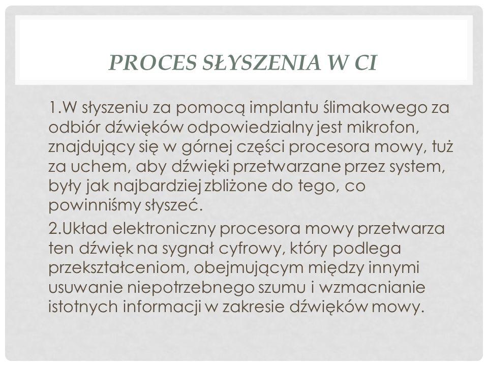 PROCES SŁYSZENIA W CI 1.W słyszeniu za pomocą implantu ślimakowego za odbiór dźwięków odpowiedzialny jest mikrofon, znajdujący się w górnej części pro