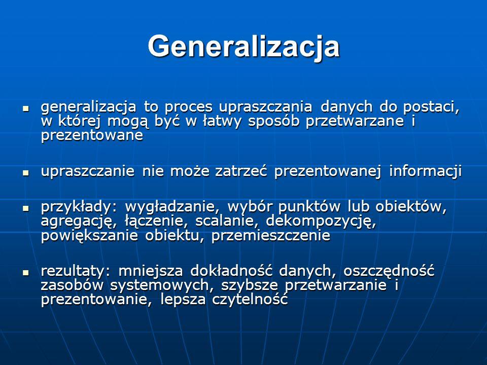 Generalizacja generalizacja to proces upraszczania danych do postaci, w której mogą być w łatwy sposób przetwarzane i prezentowane generalizacja to pr