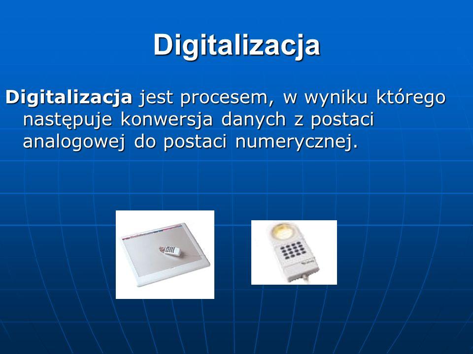 Digitalizacja Digitalizacja jest procesem, w wyniku którego następuje konwersja danych z postaci analogowej do postaci numerycznej.
