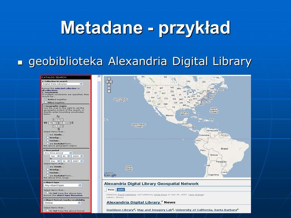 Metadane - przykład geobiblioteka Alexandria Digital Library geobiblioteka Alexandria Digital Library