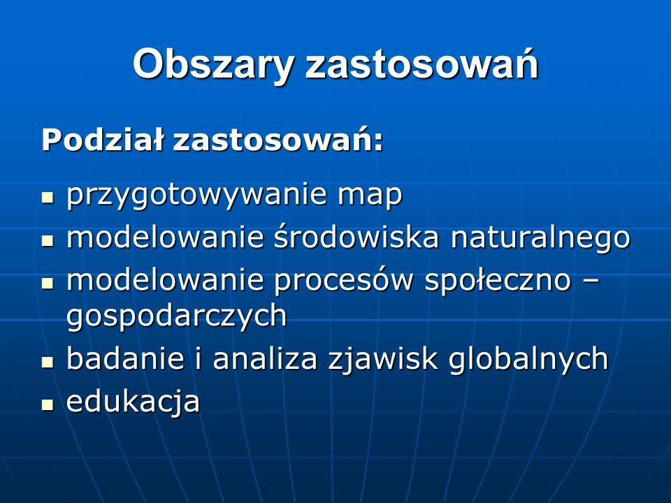 Obszary zastosowań Podział zastosowań: przygotowywanie map przygotowywanie map modelowanie środowiska naturalnego modelowanie środowiska naturalnego m