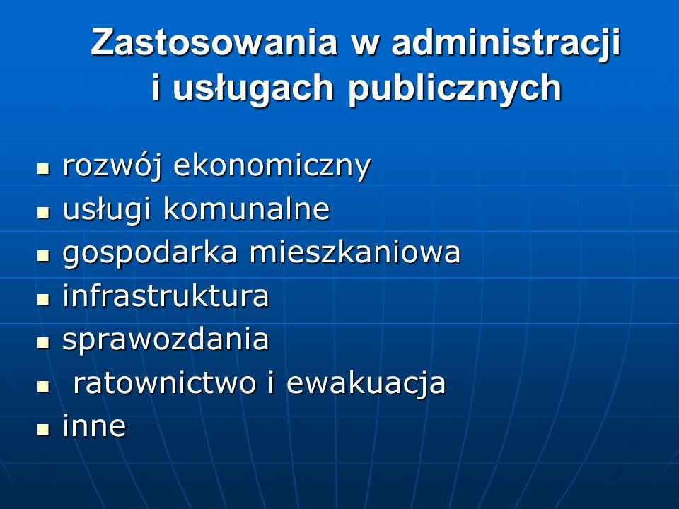 Zastosowania w administracji i usługach publicznych rozwój ekonomiczny rozwój ekonomiczny usługi komunalne usługi komunalne gospodarka mieszkaniowa go