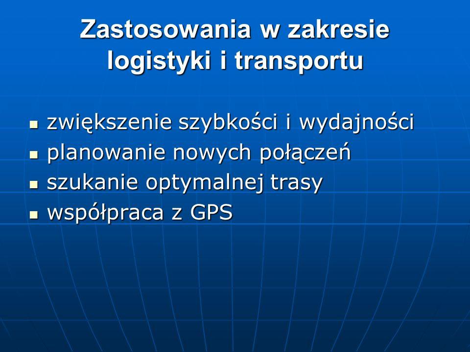 Zastosowania w zakresie logistyki i transportu zwiększenie szybkości i wydajności zwiększenie szybkości i wydajności planowanie nowych połączeń planow