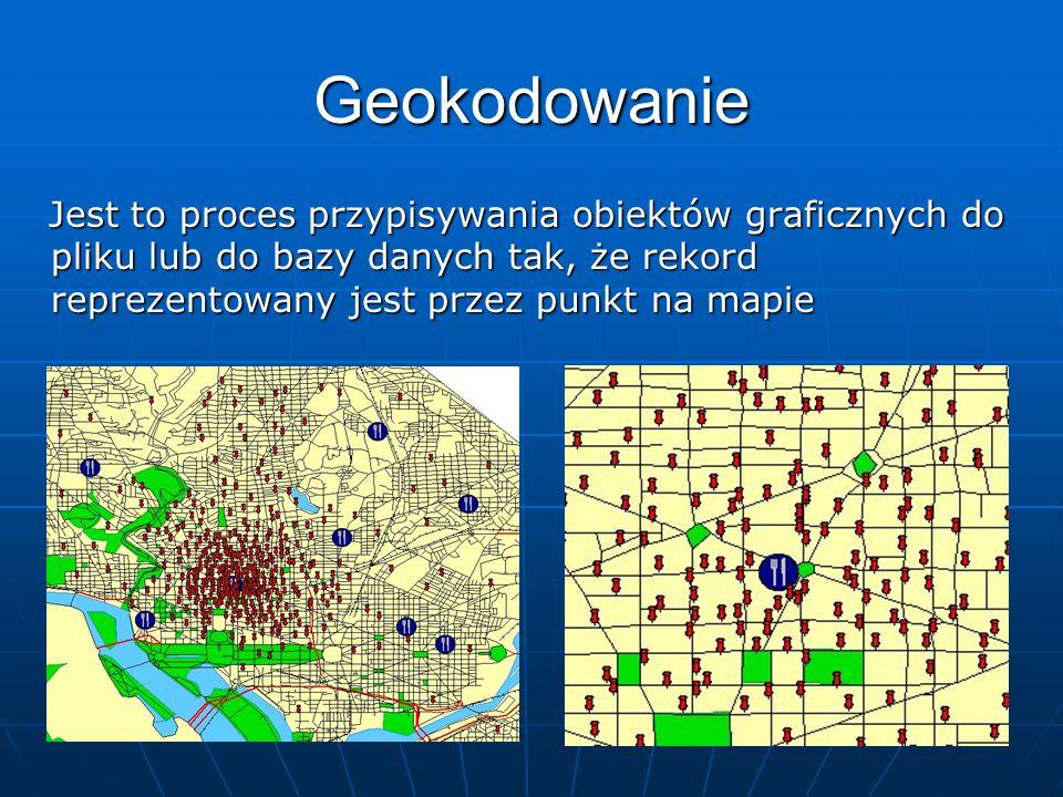 Geokodowanie Jest to proces przypisywania obiektów graficznych do pliku lub do bazy danych tak, że rekord reprezentowany jest przez punkt na mapie Jes