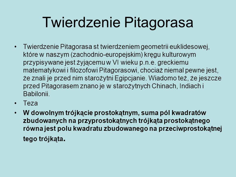 Twierdzenie Pitagorasa Twierdzenie Pitagorasa st twierdzeniem geometrii euklidesowej, które w naszym (zachodnio-europejskim) kręgu kulturowym przypisy
