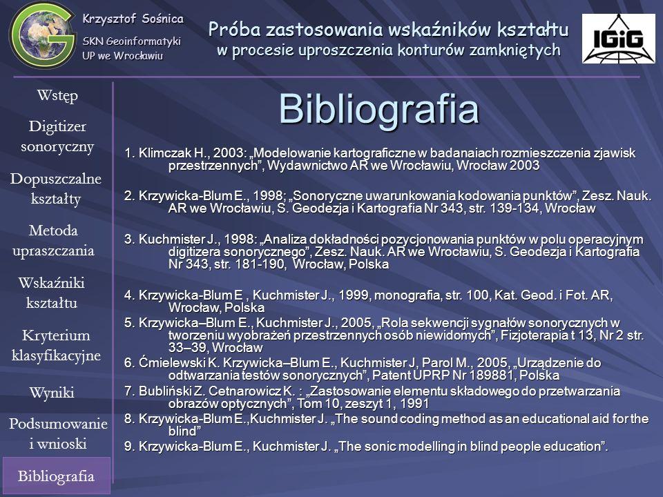 Krzysztof Sośnica SKN Geoinformatyki UP we Wrocławiu Próba zastosowania wskaźników kształtu w procesie uproszczenia konturów zamkniętych Wstęp Digitiz