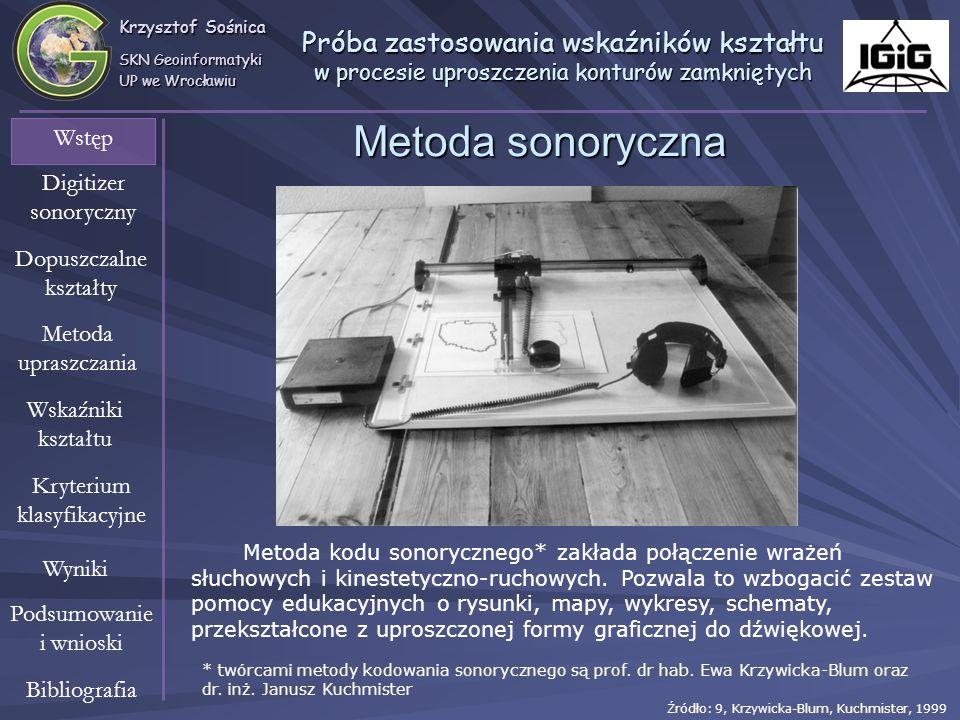 Krzysztof Sośnica SKN Geoinformatyki UP we Wrocławiu Wstęp Digitizer sonoryczny Dopuszczalne kształty Metoda upraszczania Wskaźniki kształtu Wyniki Kr